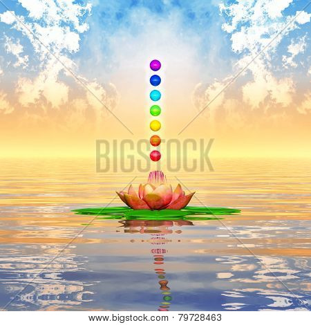 Sacred Lotus And Chakra Spheres