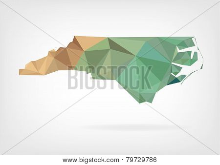 Low Poly map of North Carolina state