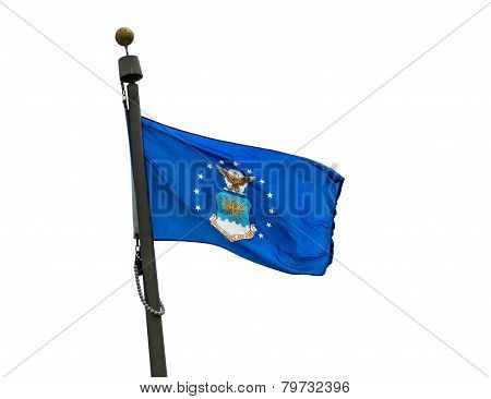 U.S. Air Force flag on a white background. poster