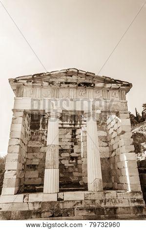 The Athenian Treasury At Delphi, Greece