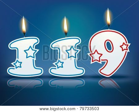Birthday candle number 119 with flame - eps 10 vector illustration