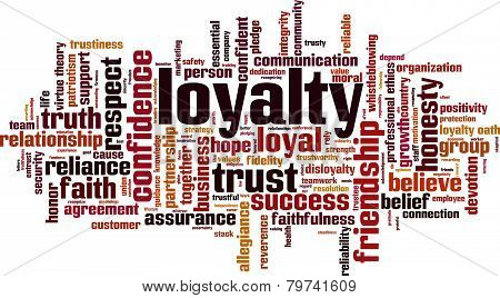 Loyalty word cloud concept, vector illustration isolated on white poster