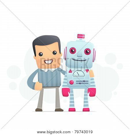 Man And The Robot Best Friends
