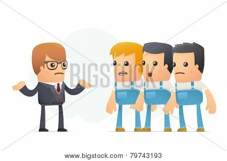 bankruptcy of the company. funny cartoon conceptual illustration with characters poster