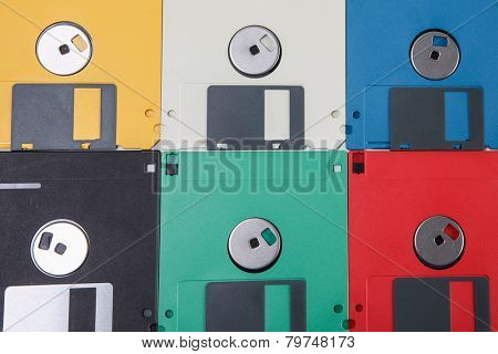 Colored floppy disc background