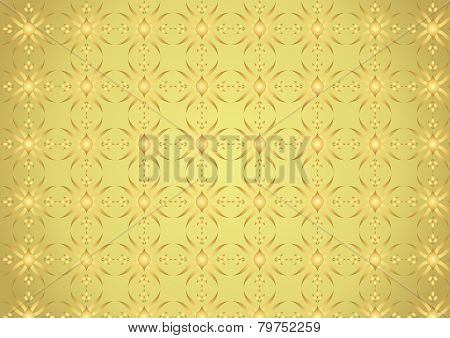 Gold Modern Flower And Rhomboid And Circle Pattern On Pastel Background