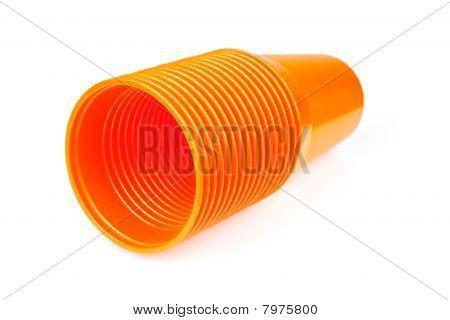 Stack Of Orange Plastic Cups