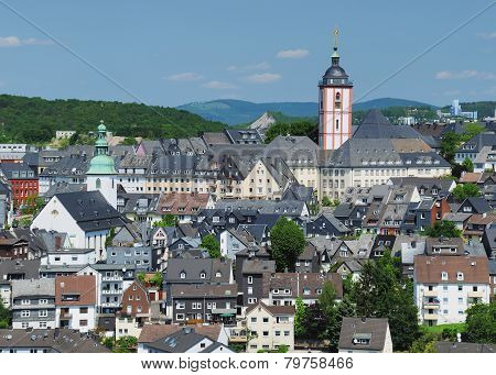 view on the historic center of the city of siegen