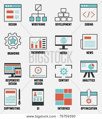 Set of e-commerce and internet service icons. Outline design style - vector icons poster