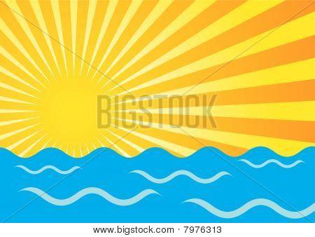 Sun Rays And Ocean