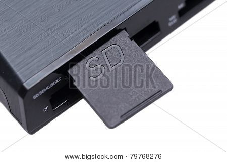 Sd Card In Card Reader On White Background