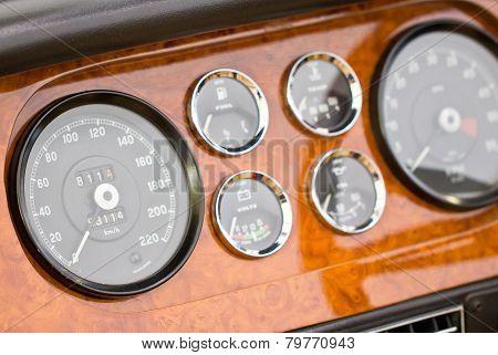 Dashboard Detail Of Vintage Car.