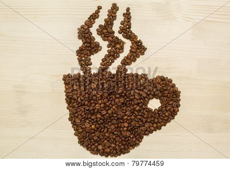 Coffee Cup With Steam Made With Coffee Roasted Beans On  A Wood Texture