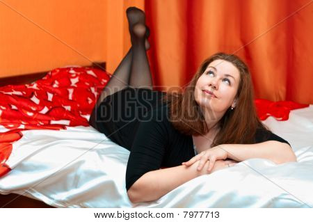One Young Beautiful Woman In Home Interior