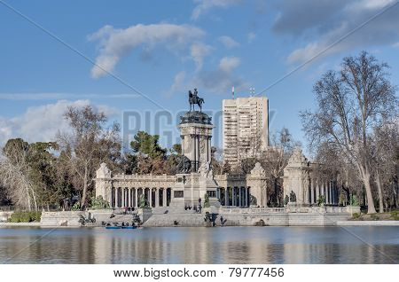 The Great Pond On Retiro Park In Madrid, Spain.