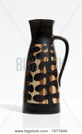 Israeli Black Ceramic Jug In Retro Style Isolated On White