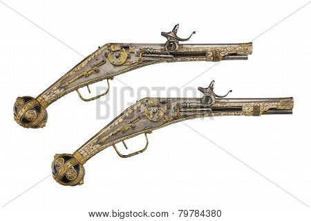 Pair Pistols original antique flintlock Wheelock And Flint Pistols