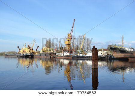 Shipyard On The Neva River
