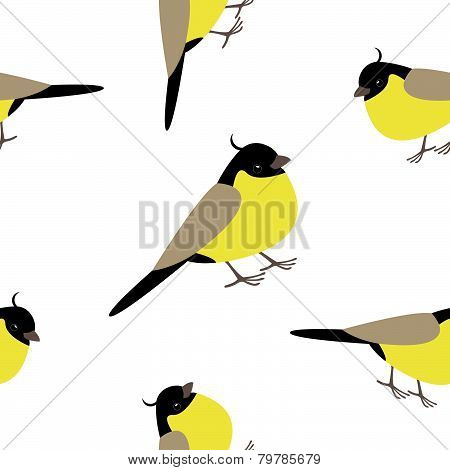 Seamless pattern with adorable yellow birds