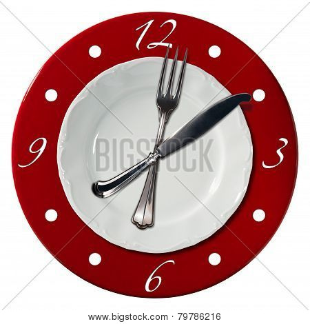 Clock composed by a white plate and a red underplate with fork and knife in the place of the clock hands. Lunch time concept poster