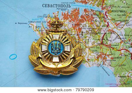 Kiev,Ukraine.JAN 10.Illustrative editorial.Ukrainian naval cockade.With map of Sevastopol,Crimea. Former Ukraine.At present time Russia. At January 10,2015 in Kiev, Ukraine