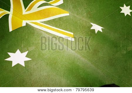 Retro Grunge Style Background Close Up Of Australian Southern Cross Flag For National Public Holiday