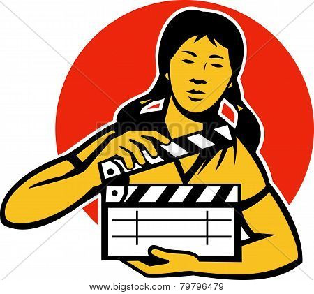 Asian Woman Girl With Movie Clapboard