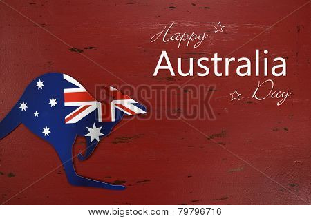 Australia Day Background With Kangaroo Shape Australian Flag On Red Rustic Recycled Wood Background