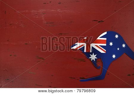 Australia Day Background With Kangaroo Shape Australian Flag On Red Rustic Recycled Wood Background.