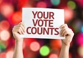Your Vote Counts card with colorful background with defocused lights poster