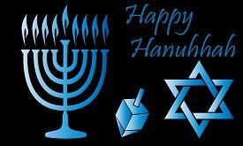 Blue Hanukkah Symbols Over A Black Background