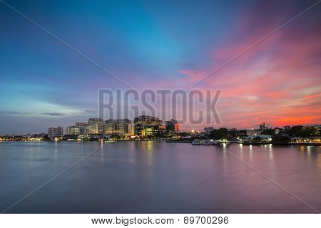 Bangkok Thailand - March 8 2015: Siriraj Hospital on the Chao Phraya River one of the oldest and the most famous hospital in Thailand it was founded since 1888. poster