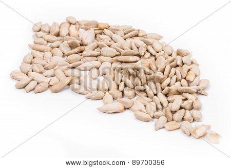 Bunch of pelled sunflower seeds.