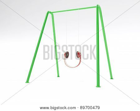 Headphones teeter-totter concept
