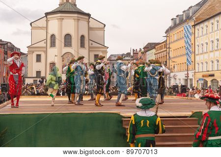Traunstein/Germany/Bavaria, April 06th: Historical sword dance at the Georgirittes in Traunstein on