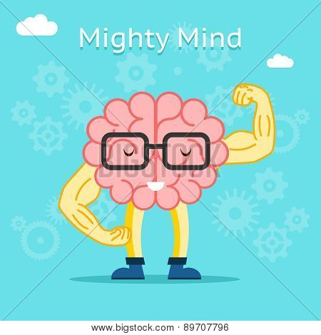 Mighty mind concept. Brain with great creative potential