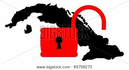 Vector illustration. Dark silhouette in Cuba territory under open red padlock. The weakening of the US sanctions against Cuba. Isolated on white background. poster