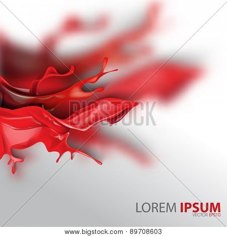 red ink flowing splatter wet paint blurred business background eps10 vector