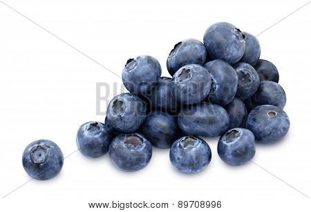 Heap of fresh blueberry berries isolated on white background poster
