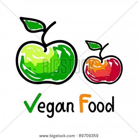 Vegan food emblem with green and red apple fruit icons