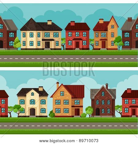 Town seamless borders with cottages and houses