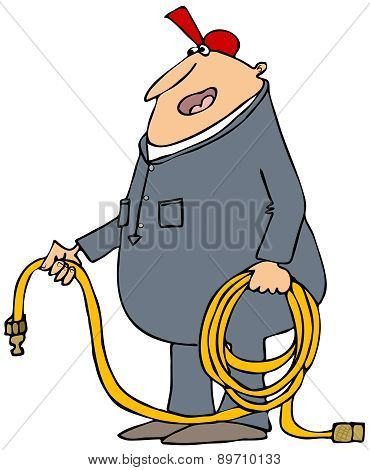 Man holding a coiled air hose