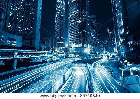 Futuristic Night City Traffic. Hong Kong