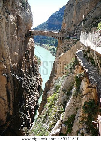 Bridge And Rockscape In Gorge In El Chorro