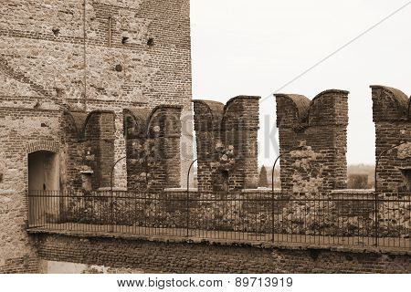 Battlements Of The Castle On The Walls To Protect The Medieval Soldiers