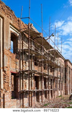 Fragment of building restoration, historical architecture remodeling. poster