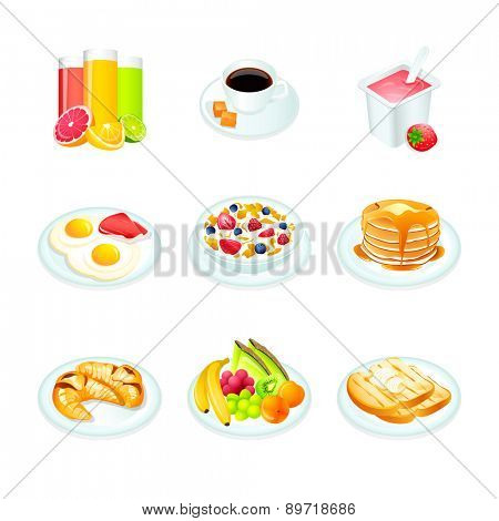 Continental breakfast realistic icons isolated