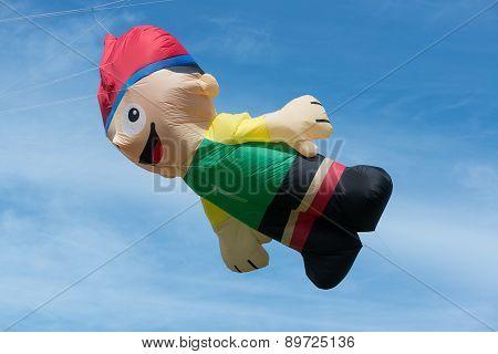 Blyth, Nothumberland, Uk: 04 May 2015. Large character kite In Flight At Blyth Kite Festival 2015