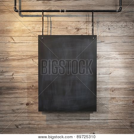 Black poster hanging on leather belt. 3d rendering