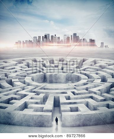 Businessman in maze and city on horizon. 3d rendering